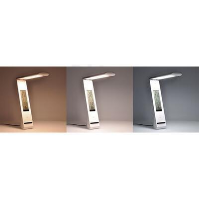 LED stolní lampička 5W nabíjecí s LCD displejem bílá - 2